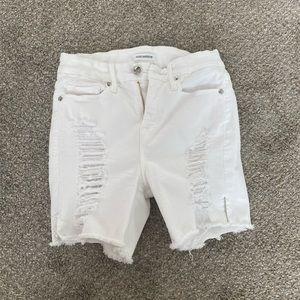 Good American white denim jean shorts